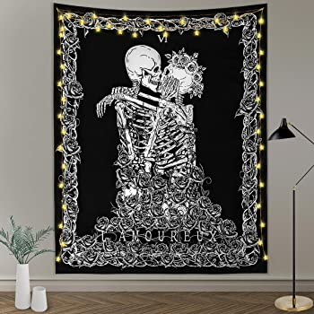 Lunarable Tattoo Tapestry 23 W X 28 L inches Ash Grey Fabric Wall Hanging Decor for Bedroom Living Room Dorm Skull Wedding Day of Dead Couple Bride and Groom Endless Love Vintage Artwork Print