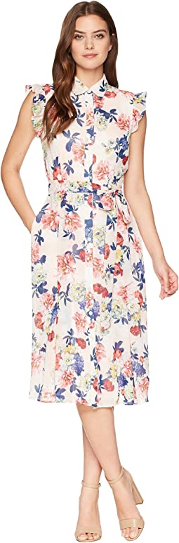 Tahari by ASL Floral Midi Shirtdress