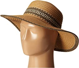 91df745fadc Panama Hat with Striped Pom Band.  35. New. UBL6480 Ultrabraid Sunbrim w   Pattern Band