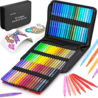 Coloring Markers Pens Set for Adult Coloring Book, Soucolor 72 Colors Dual Tip Markers (Fineliner and Brush) with Case for...