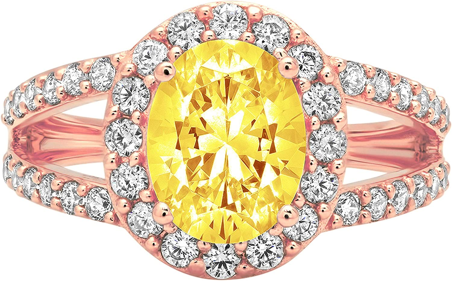 2.18ct Oval Cut Max 76% OFF Solitaire with Accent Ye Super sale Canary shank Halo split