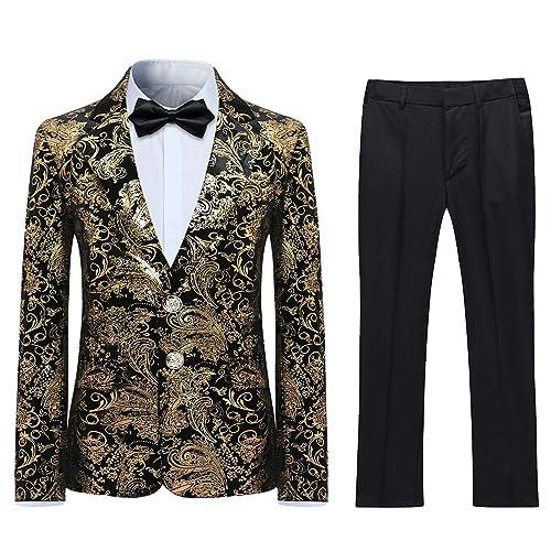 Costume 3 Pi/èces Homme Imprim/é /Él/égant Jacquard Un Bouton Ch/âle Rvers Slim Fit Tuxedo Mariage Bal No/ël Veste Gilet et Pantalon