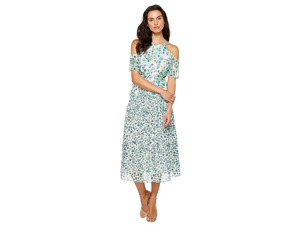 Donna Morgan Cold Shoulder Flutter Sleeve Midi Dress (Turquoise Multi) Women