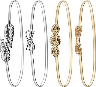 4 Pieces Women Elastic Waist Belt Stretch Metal Dress Belt
