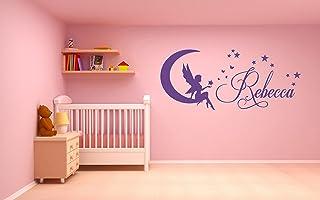 Nome personalizzato, Fata, Luna, Stelle, Adesivo artistico da parete in vinile, Murale, Decalcomania. Casa, Decorazione de...