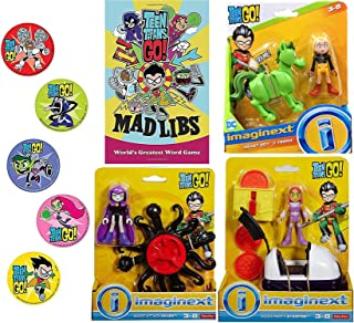 Mad Go Hero Go Super Teen Titans Figure Playset Party Magic Attack Raven Bundled with Pizza Starfire / Beast Boy & Terra Adventure Cartoon Character Toy + Word Game Book 4 Items & Bonus Stickers