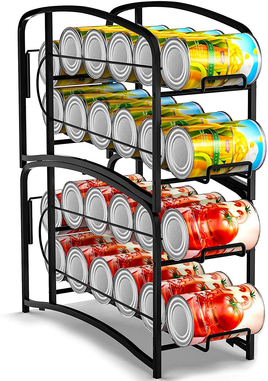 Auledio Stackable Beverage Can Dispenser Rack, Can Storage Organizer Holder for Canned food or Pantry Refrigerator,Black(2 Pack)