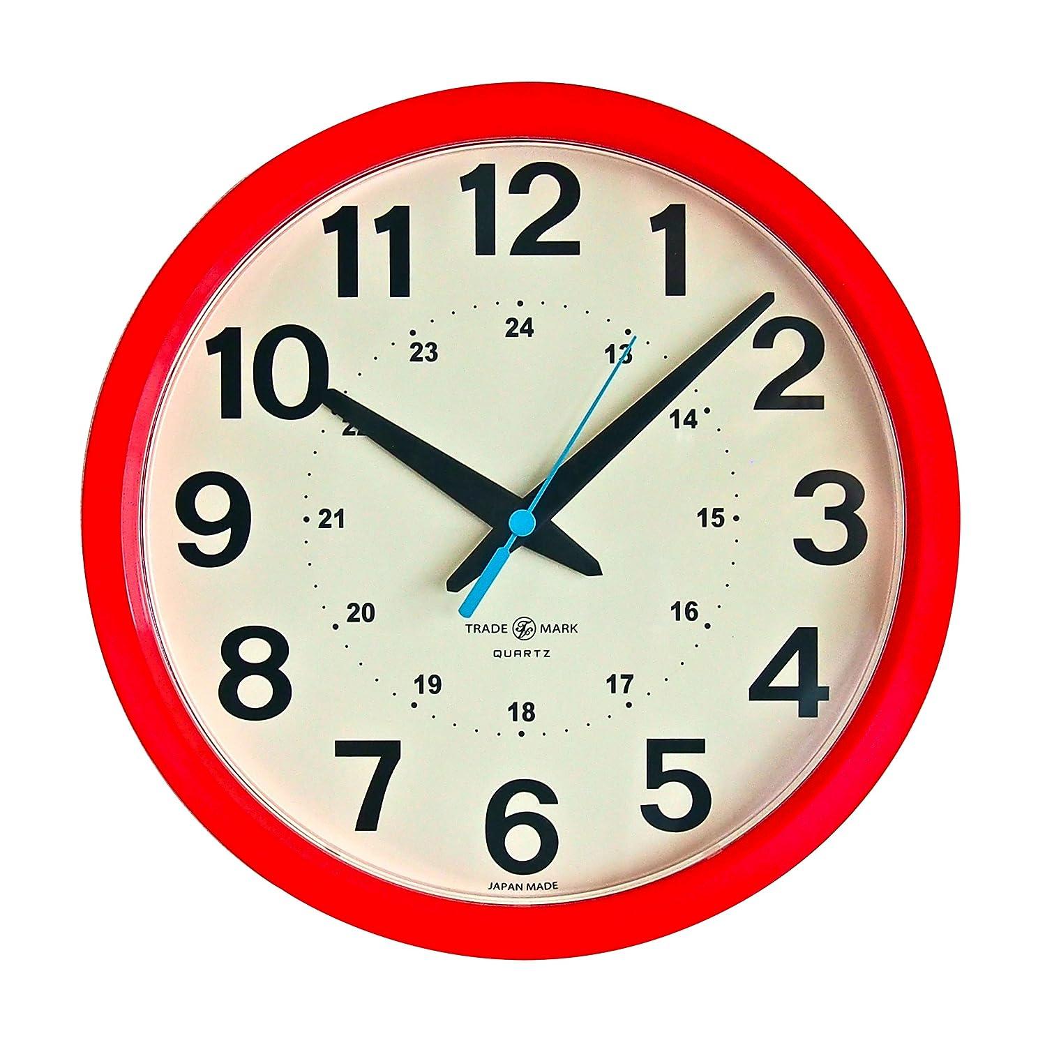 病な渦ベーリング海峡トラディションアコースティック 掛け時計 レッド 28.5×28×4.5cm(外寸) 24HOUR ROUND WALL CLOCK、掛置兼用 TSI020