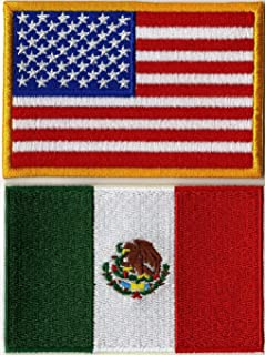 American Flag + Mexico Flag Patches | USA Patriotic Red White Blue | Iron or Sew on | Embroidered Patch (3.25
