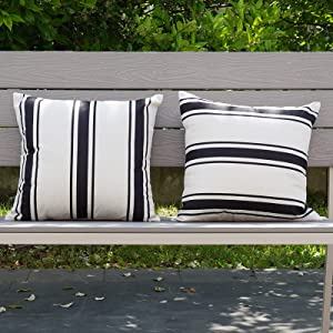Waterproof Pillow Cover 18×18 Outdoor Throw Pillows Black and Beige Striped Cushion Cases Set of 2 for Patio Furniture, Porch and Sunbrella