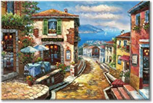 UTOP-art Italian Cityscape Abstract Wall Art Artwork: Mediterranean City italy Street Towns Picture Painting on Canvas for Paris Cafe Room