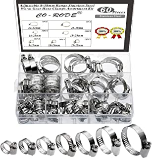 60PCS 8-38mm Range Adjustable Stainless Steel Worm Gear Hose Clamps Screw Assortment Kit