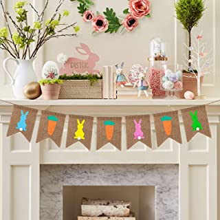 Easter Burlap Banner Decorations Colorful Bunny Rabbit & Carrot Easter Bunting Decor for Easter Party Favors, Spring Ready to Hang Easter Garland Banner Prop Decorations VAG086