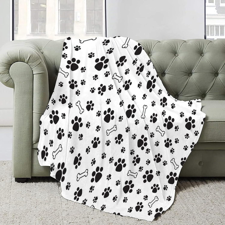 Black Animal Small Footprints Super Lightw Blanket Soft Albuquerque Mall half Flannel
