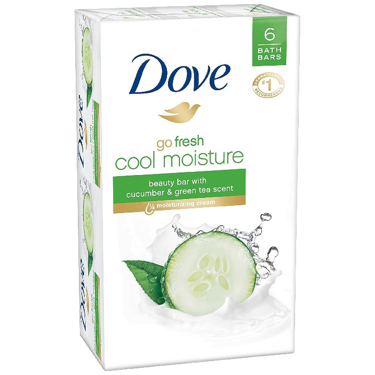どこにでもしないでください郵便番号Dove 新鮮な美しさバー、キュウリ、緑茶4オンス、6バーを移動します