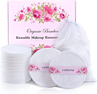 20 Packs Organic Reusable Makeup Remover Pads,washable Natural Bamboo Cotton Rounds -reusable cotton pads for face wipes w...