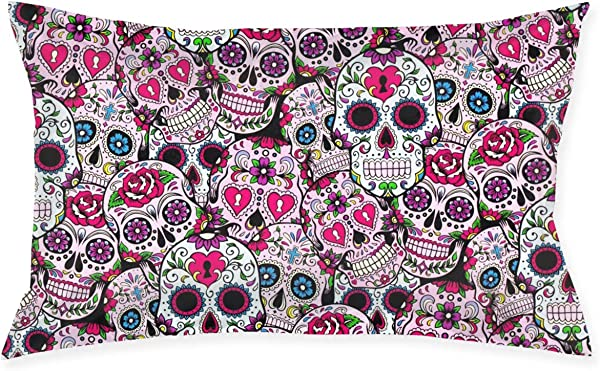 Day Of The Dead Sugar Skulls 20 X 30 Bed Pillow Case Cover Cushions Queen Size Standard Throw Pillow Covers