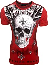Subal Mode - Heren T-shirt doodshoofd met strass r...
