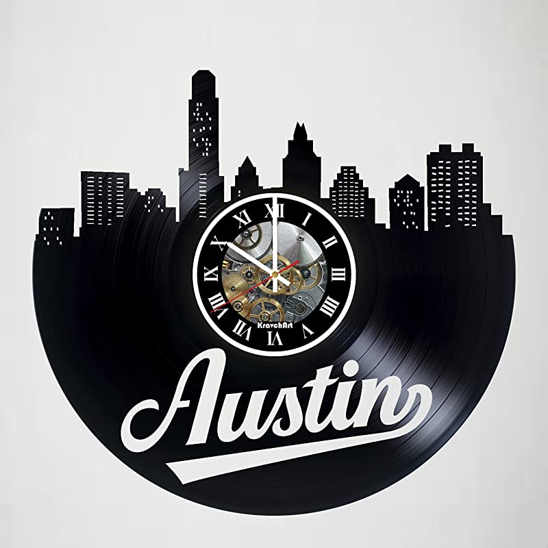 KravchArt Austin Texas Skyline Vinyl Record Wall Clock Artwork Gift Idea For Birthday Christmas Women Men Friends Girlfriend Boyfriend And Teens Living Kids Room Nursery