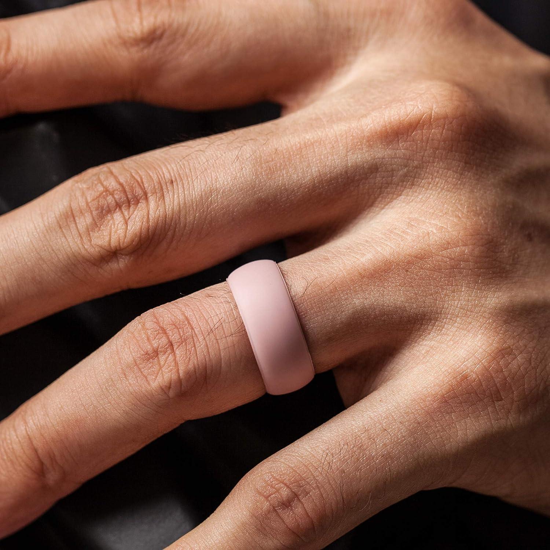 ThunderFit Silicone Wedding Ring for Men /& Women Width Men 8.0mm Women 1.5mm Thickness Men 2.0mm Rubber Engagement Band Women 5.5mm