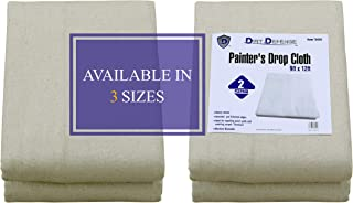 Pack of 2: Canvas Drop Cloth Cotton Tarp 9x12 Large Canvas Tarp for Art Supplies, Drop Cloths for Painting Supplies/Paint ...