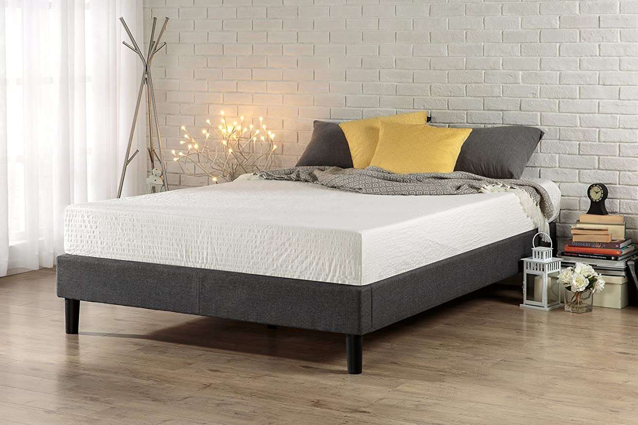 Zinus Curtis Essential Upholstered Platform Bed Frame / Mattress Foundation / Easy Assembly / Strong Wood Slat Support, Full