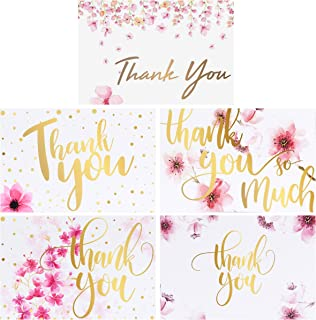 100 Bulk Thank You Cards with Envelopes, Floral Flower Blank Thank You Notes, Greeting Cards for Wedding, Baby Shower, Bridal Shower, Anniversary, 5 Design 4 x 6 inch