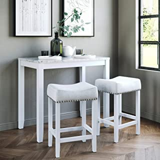 Nathan James 41201 Viktor Dining Set Kitchen Pub Table Marble Top Fabric Seat Wood Base, Light Gray/White