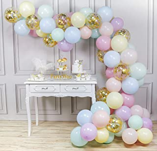 PartyWoo Pastel Balloons Pack, 80 pcs 12 Inch Assorted Pastel Colors Balloons and Gold Confetti Balloons, Gold Balloons Pastel 7 Colors for Pastel Wedding Decorations, Pastel Girl Birthday Decorations