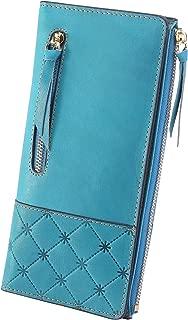 AINIMOER Women's RFID Blocking Large Capacity Luxury Genuine Leather Clutch Wallet Card Holder Organizer Ladies Purse(Vintage Sky Blue)
