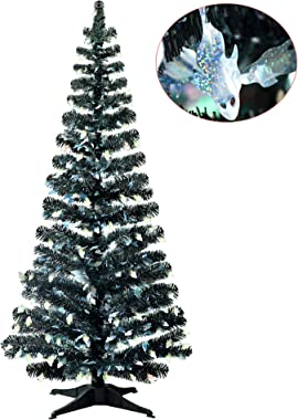 5FT Pop Up Christmas Tinsel Branches Trees w/ Plump Ghost Sequin for Indoor Decorations, Collapsible Artificial Halloween Xma