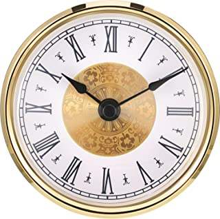 Hicarer 3-1/8 Inch (80 mm) Clock Insert with Roman Numeral, Quartz Movement, Gold Trim