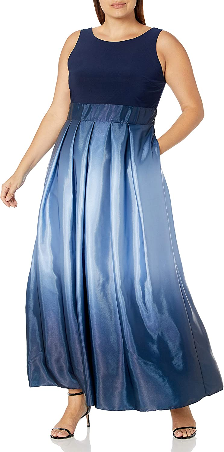 S.L. Fashions Women's Plus Size Long Satin Ombre Party Dress With Pockets