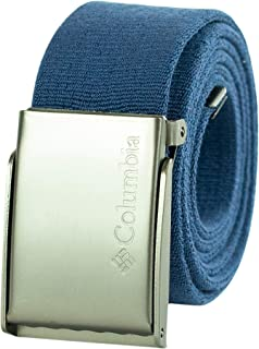 Columbia Men's Military Web Belt-Adjustable One Size Cotton Strap and Metal Plaque Buckle