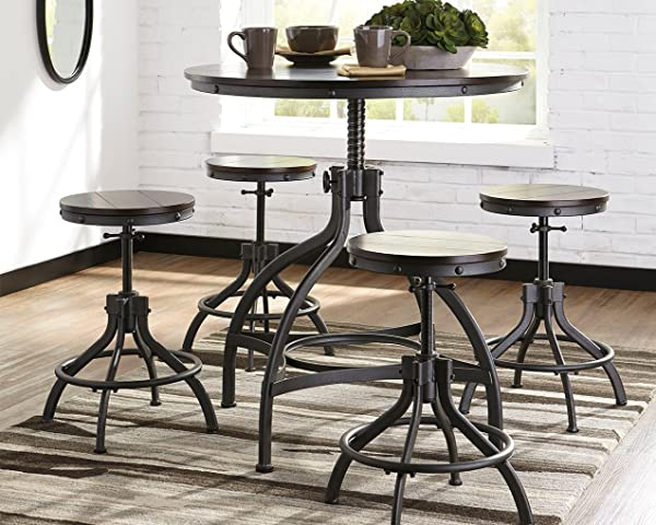 Ashley Furniture Signature Design Odium Counter Height Dining Room Table And Bar Stools Set Of 5 Brown