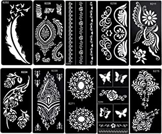 Konsait 10Sheets Large Temporary Tattoo Stencils, Reusable Henna Tattoo Sticker Template Feather Butterfly Mandala Flower Jewelry Face Body Art Glitter Tattoo Stencil Kit for Adults Women Girls