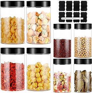 3.6L Bocaux en Plastique 8 Pcs, Bocal de Stockage, Bocal Plastique Transparent Pots de Stockage Récipient de Stockage de G...