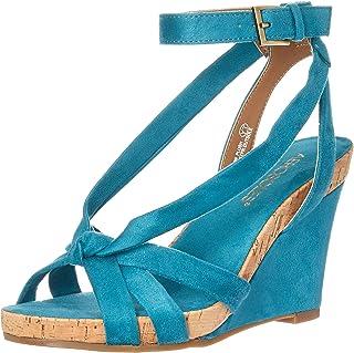 Aerosoles - Women's Fashion Plush Wedge Sandal - Open Toe Strap Platform Heel Shoe with Memory Foam Footbed (10M - Teal Fa...