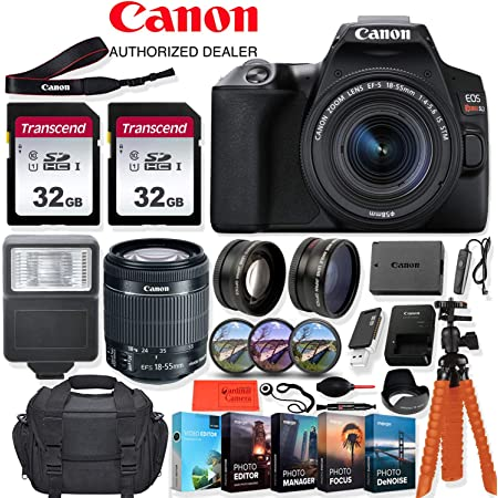 Canon EOS Rebel SL3 DSLR Camera with 18-55mm Lens - 24.1 MegaPixels, Wi-Fi, 4k HD + Accessory Kit - Vlogging/Photo Editing Software Package, 64GB Memory & More