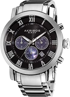 Men's 'Grandiose' Chronograph Multifunction Watch - 3 Subdials with Date Window On Stainless Steel Bracelet Watch - AK622