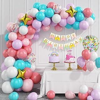 Kit De Guirlande De Ballons, Gresatek Rainbow Balloon Arch Kit, Macaron Balloons Confetti Balloons Happy Birthday Banner F...