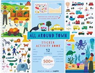 All Around Town Activity Book Innovative Side by Side Sticker Books - Spiral Binding Allows The Sticker Book to Lay Flat -...