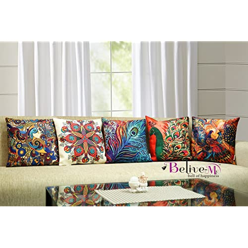 Belive-Me 3D Jute Peacock Printed Cushion Covers(12 X12-inches, Multicolour) - Set of 5