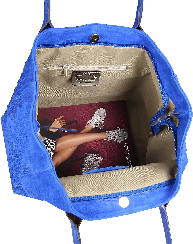 Sac à main en cuir pour femme - Fabriqué en Italie - Format A4 - Imprimé croco - Sac à main Bleu Roi