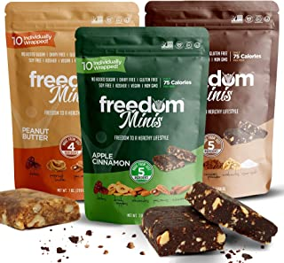 Freedom Minis, Healthy Fruit and Nut Bar - Dairy and Gluten Free, Organic Energy Snack - Apple Cinnamon, Chocolate Cocoa and Peanut Butter Flavor, Variety Pack