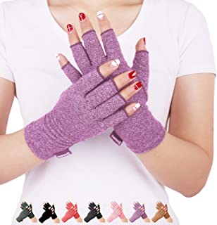 Arthritis Compression Gloves Relieve Pain from Rheumatoid, RSI,Carpal Tunnel, Hand Gloves Fingerless for Computer Typing and Dailywork, Support for Hands and Joints (Purple, Medium)