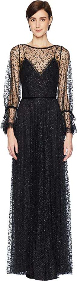 Marchesa Notte Bishop Sleeve Glitter Tulle Gown with Lace and Velvet Trims