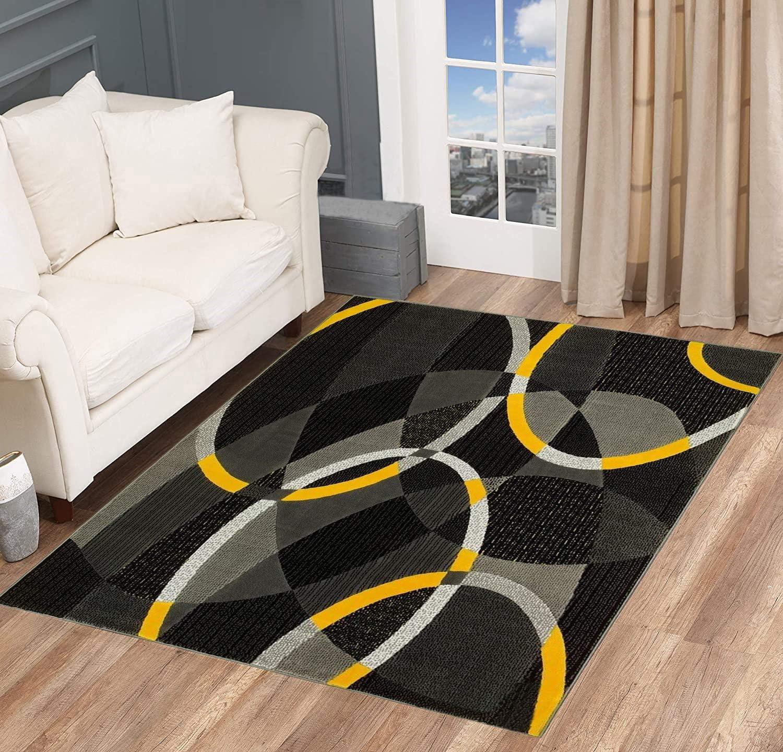 Swirls Circles Modern 至高 Abstract Area Black Rug Carpet Gray 2020春夏新作 Yellow