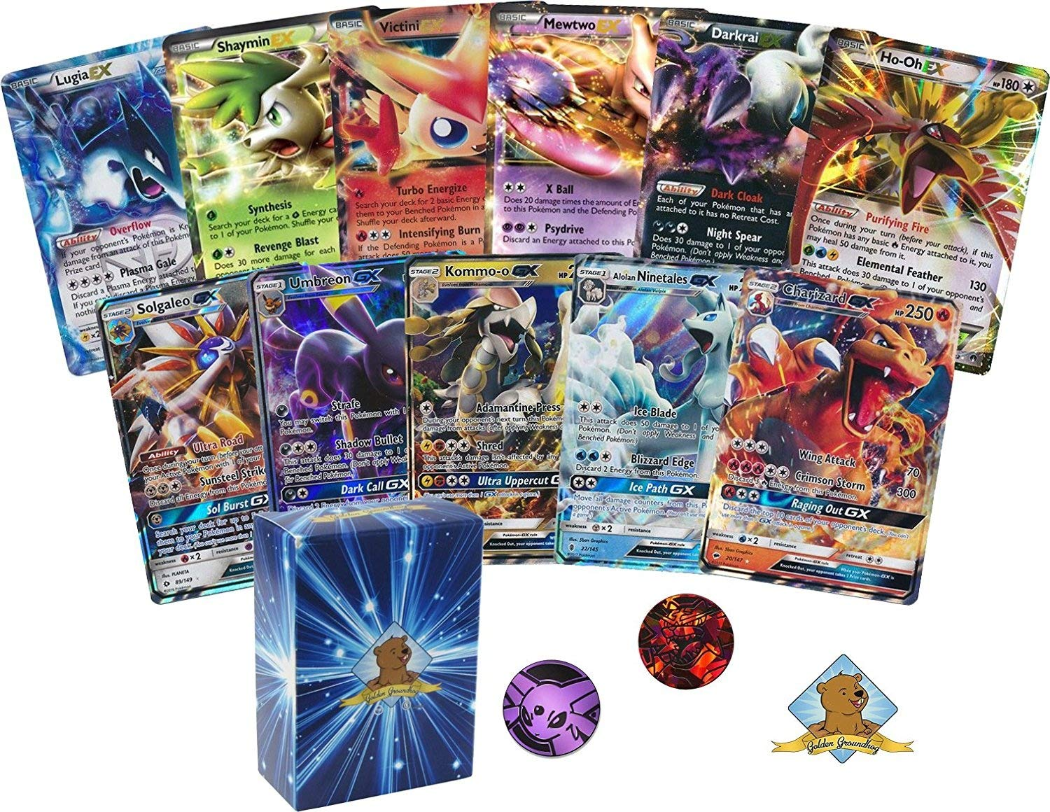 Rares Pokemon 100 Card Lot with Energy Featuring 2 Legendary GX Cards No Duplication By Golden Groundhog