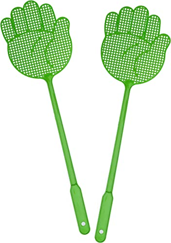 new arrival OFXDD Fly Swatter, Long Fly Swatter Pack, Fly Swatter wholesale Heavy Duty, Green discount Color Shape Palm (2 Pack) online